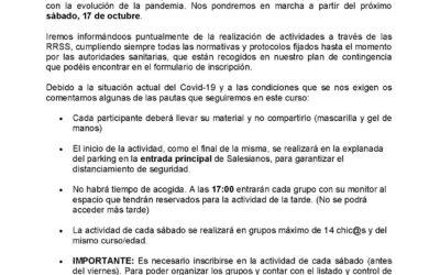 Carta Inicio de Actividades Curso 2020 – 2021